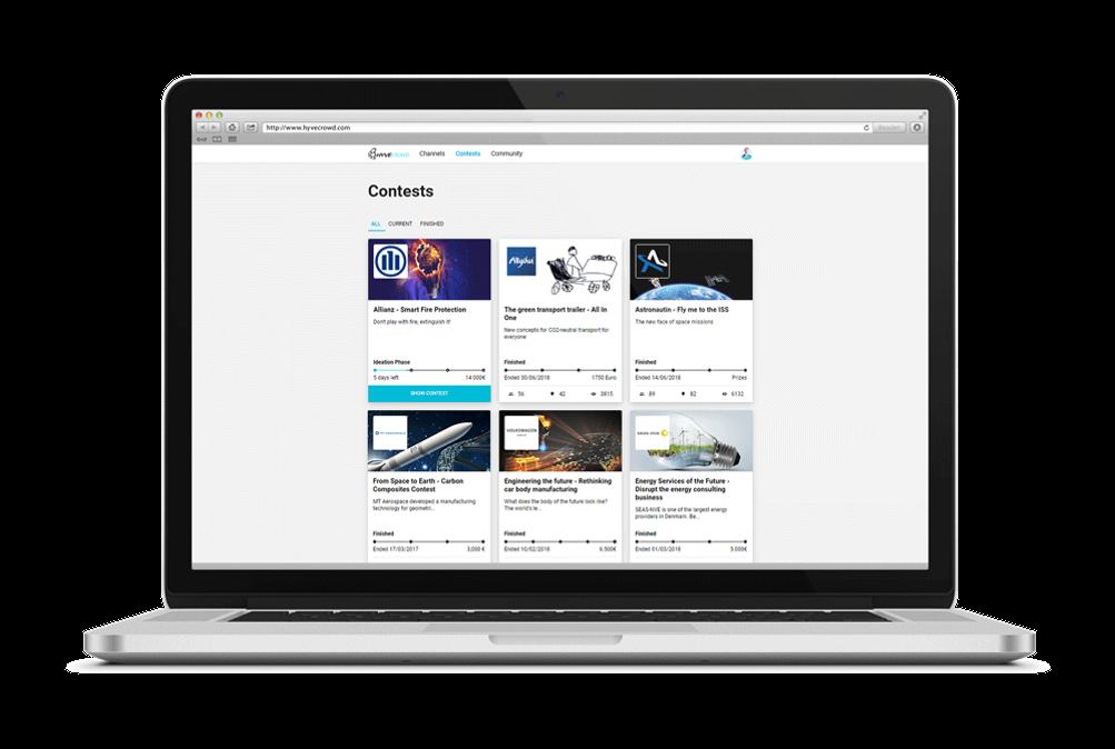 Laptop, featuring HYVE Crowd innovation crowdsourcing platform