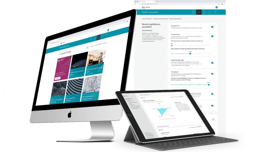 Mockup Software Management Tool für in-manas auf Desktop, Tablet und Smartphone